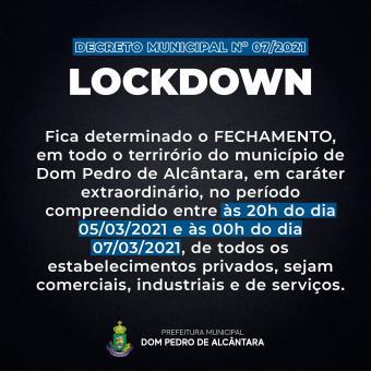 Dom Pedro de Alcântara decreta lockdown neste fim de semana para conter avanço da COVID-19