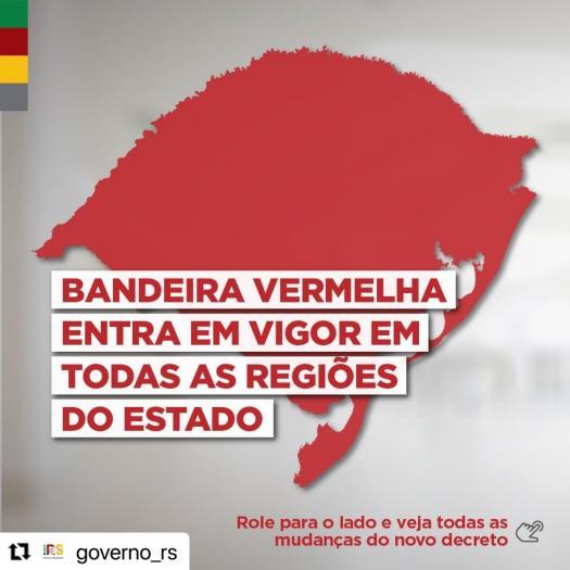 Governo do RS emite decreto que coloca todas as regiões em bandeira vermelha