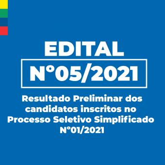 Resultado Preliminar dos Candidatos inscritos no Processo Seletivo Simplificado Nº01/2021