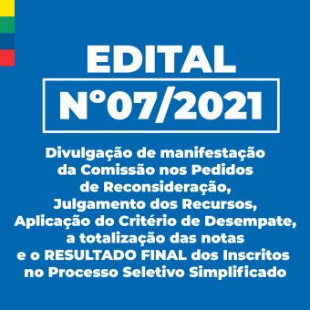 Edital nº 07/2021 - Resultado Final dos Inscritos no Processo Seletivo Simplificado