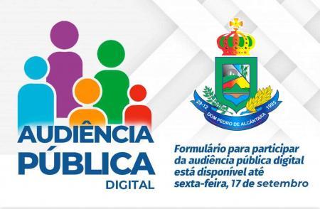 Formulário Audiência Pública Digital está disponível até sexta-feira, 17 de Setembro